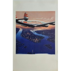 Affiche ancienne originale TWA New York - Frank SOLTESZ