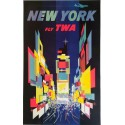 Affiche ancienne originale TWA New York Circa 1960 - David Klein