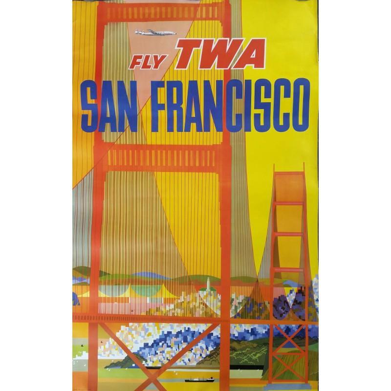 Original vintage poster Fly TWA SAN FRANCISCO with constellation plane - David KLEIN