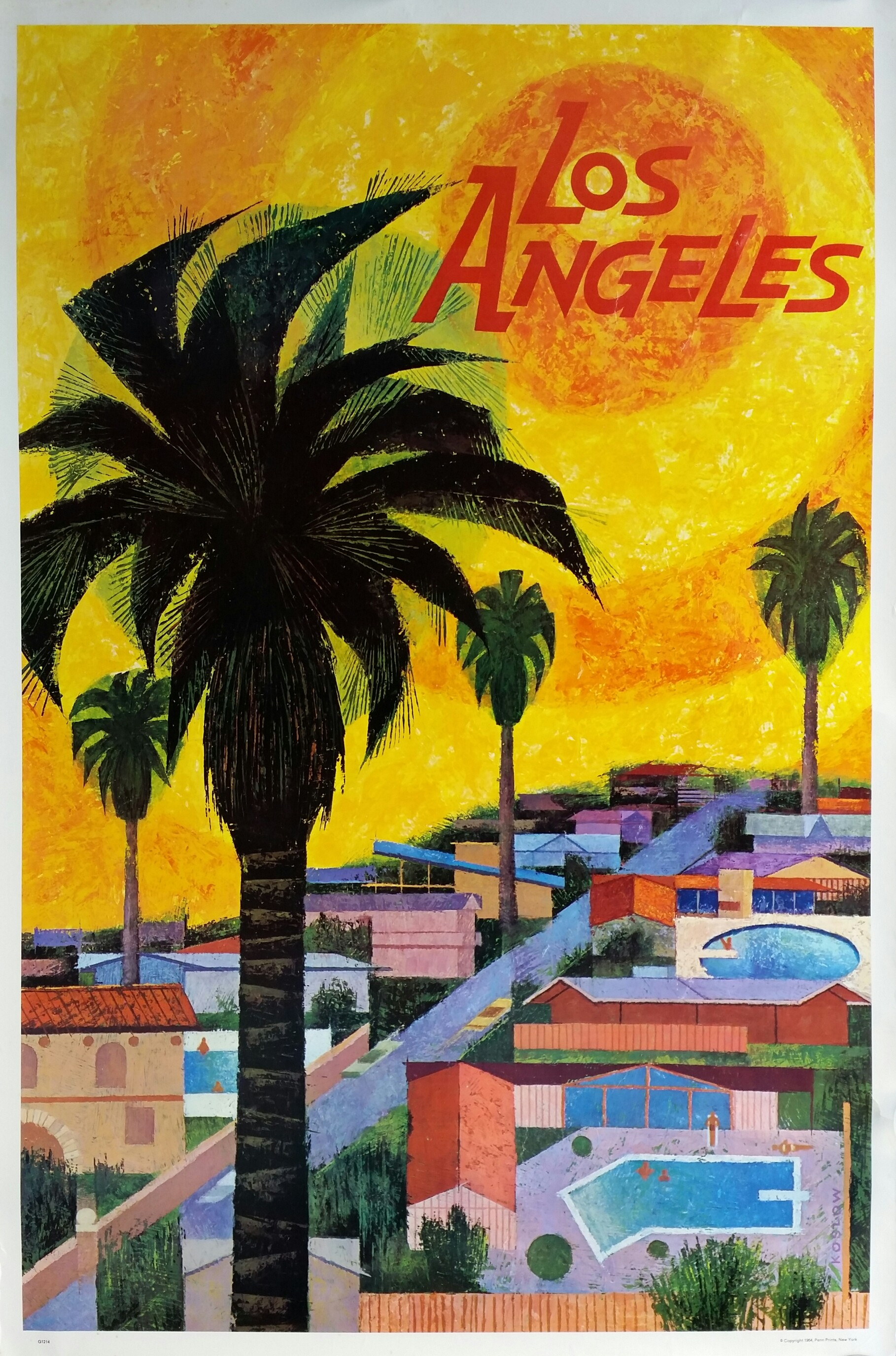Original Vintage Posters To Promote Trips To Los Angeles Affiche - Los angeles posters vintage