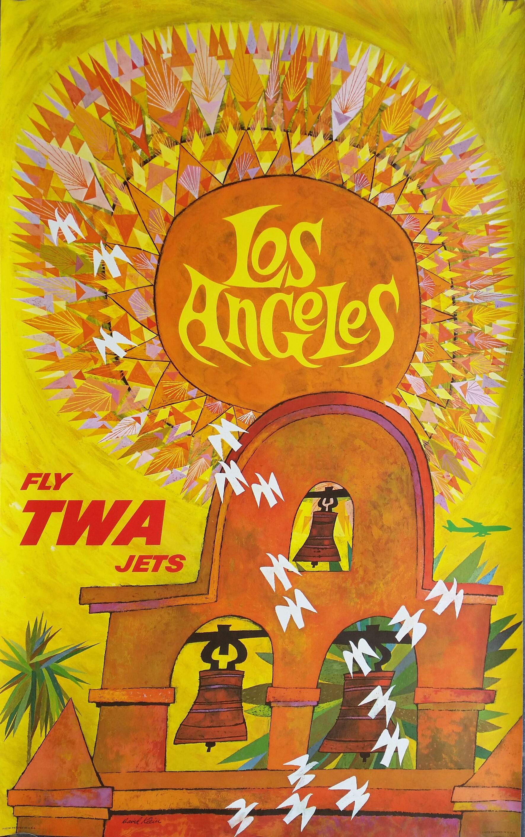 Original Vintage Poster Fly TWA Jets LOS ANGELES David KLEIN - Los angeles posters vintage