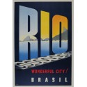 Affiche ancienne originale RIO Wonderful City BRASIL - JOA