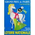 Affiche ancienne originale Loterie Nationale 29 juin Grand Prix de Paris - Pierre TOUCHAIS