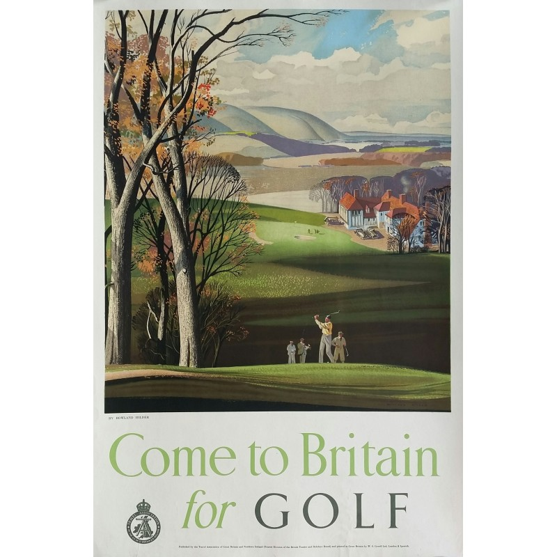 affiche ancienne originale come to britain for golf rowland hilder. Black Bedroom Furniture Sets. Home Design Ideas