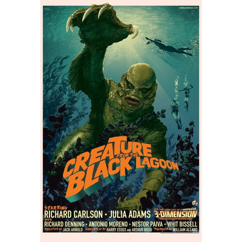 Original silkscreened poster regular limited edition Creature from the Black Lagoon  - Stan & Vince - Galerie Mondo