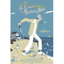Original silkscreened poster limited Variant Les vacances de Mr HULOT - David MERVEILLE - Galerie Nautilus Artprints