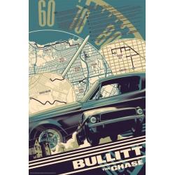 Original silkscreened poster limited edition variant print Bullitt the chase - Matt TAYLOR - Galerie Mondo
