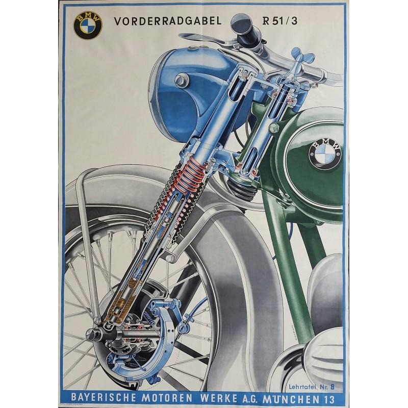 Original vintage motobike poster BMW front wheel fork of R51-3 - SCHLENZIG
