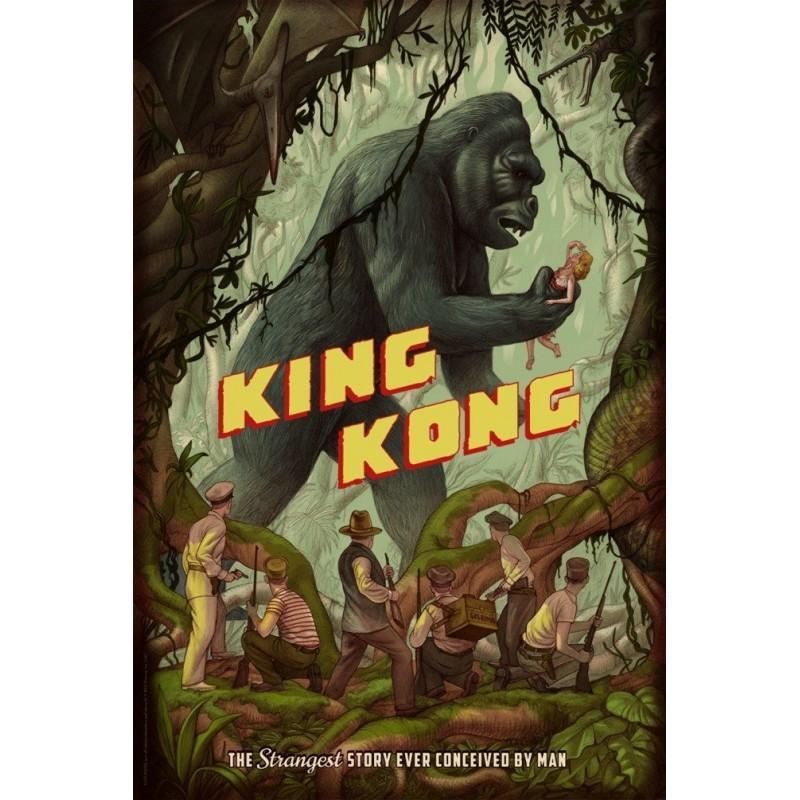 Original silkscreened poster limited edition King Kong jungle - Johnatan BURTON - Mondo