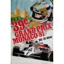 Affiche ancienne originale Grand Prix de Monaco 1981 - J GROGNET