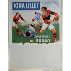Affiche ancienne originale KINA LILLET Grand Match de Rugby bleu - André GALLAND