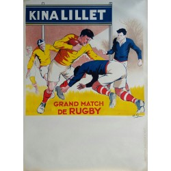 Affiche ancienne originale KINA LILLET Grand Match de Rugby jaune - André GALLAND