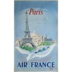 Original manifesto Air France Paris - Régis MANSET - Ref 668 / P / 4 / 52
