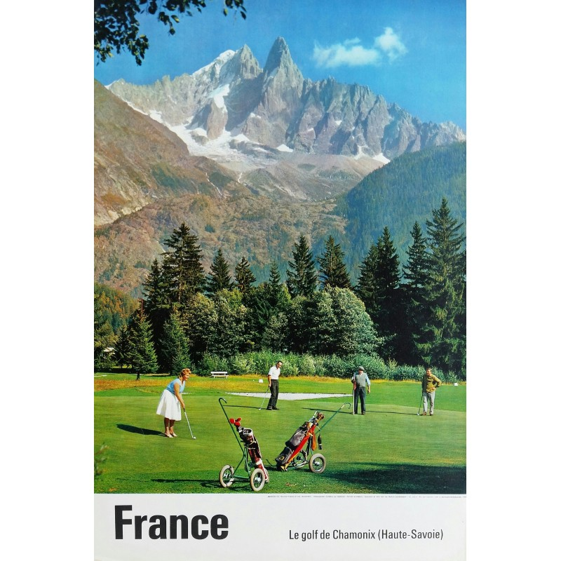 Affiche ancienne originale Le golf de Chamonix (Haute-Savoie)
