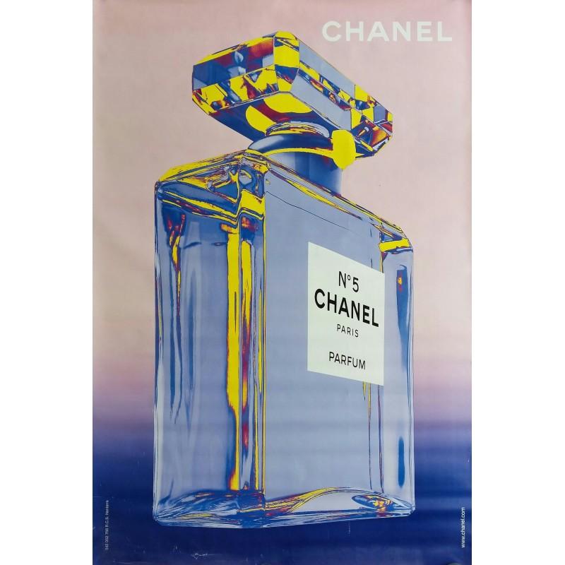 Affiche originale Chanel n° 5 rose et bleu - 170 cms x 120 cms