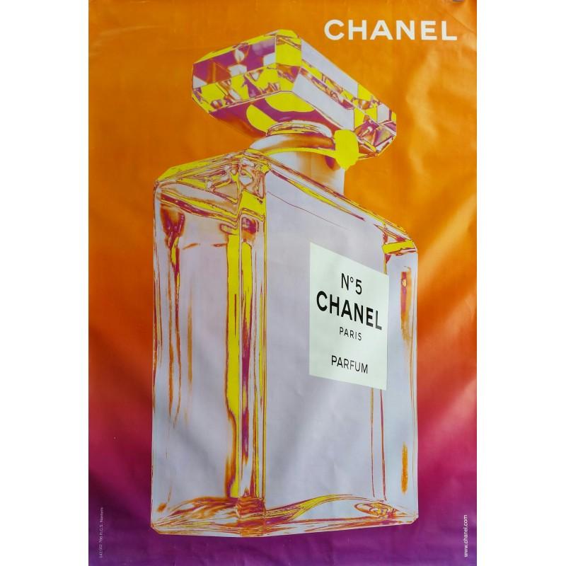 Affiche originale Chanel n° 5 orange et violet - 170 cms x 120 cms