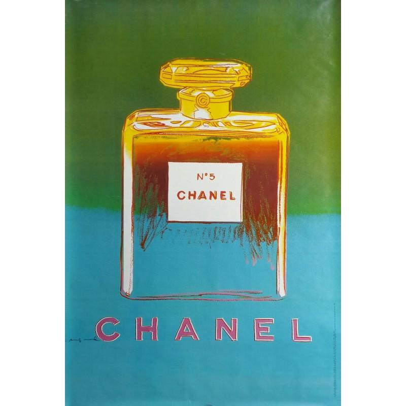 Affiche originale Chanel n° 5 vert et bleu - 170 cms x 120 cms - Andy WARHOL