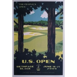 Affiche originale US Open Golf USGA Bethpage Black June 18-21 2009 - Lee Wybranski