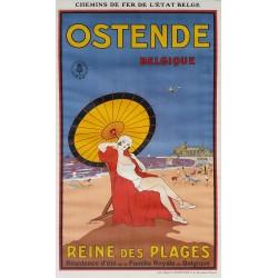 Affiche ancienne originale Ostende Belgique Reine des Plages - BAILIE Samuel Colville