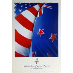 Original viejo cartel Louis VUITTON America's Cup San Diego California 1988
