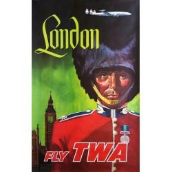 affiche ancienne originale london fly twa david klein en vente chez affiche passion. Black Bedroom Furniture Sets. Home Design Ideas