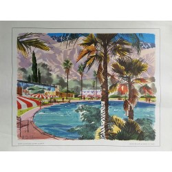 Original vintage poster Winter vacationland Southern California painted for United Airlines - W D SHAW