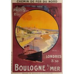 Original vintage poster Boulogne sur Mer Chemin de fer du Nord - Henry DE RENAUCOURT