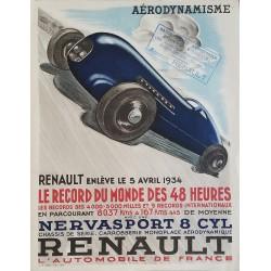 Affiche ancienne originale Renault Aérodynamisme Record du monde des 48 heures 1934