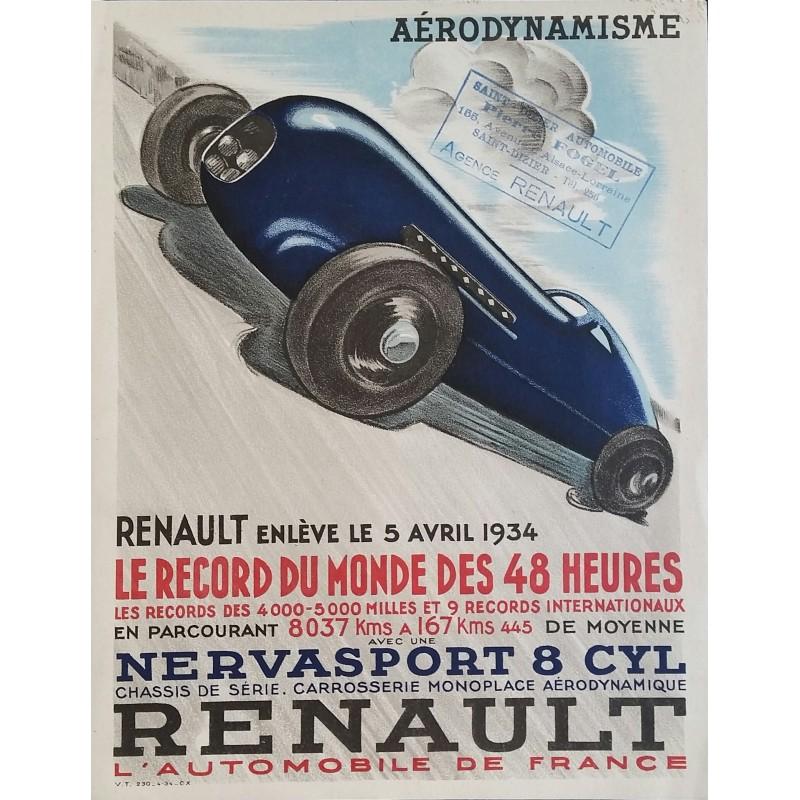 Original vintage poster Renault Aérodynamisme Record du monde des 48 heures 1934