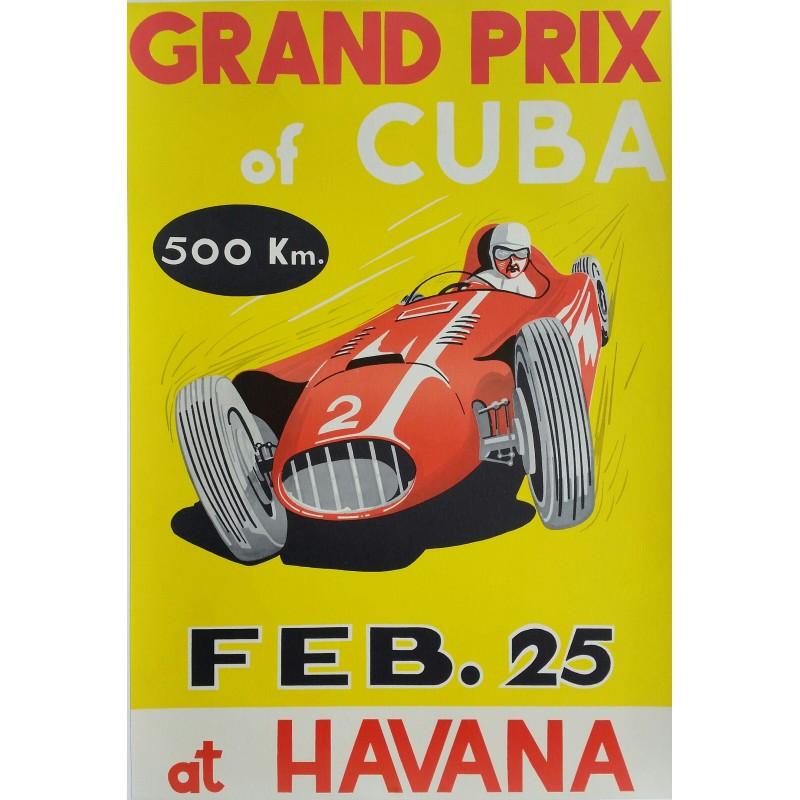 affiche ancienne originale grand prix of cuba 1957 at havana juan manuel fangio gagne sur. Black Bedroom Furniture Sets. Home Design Ideas