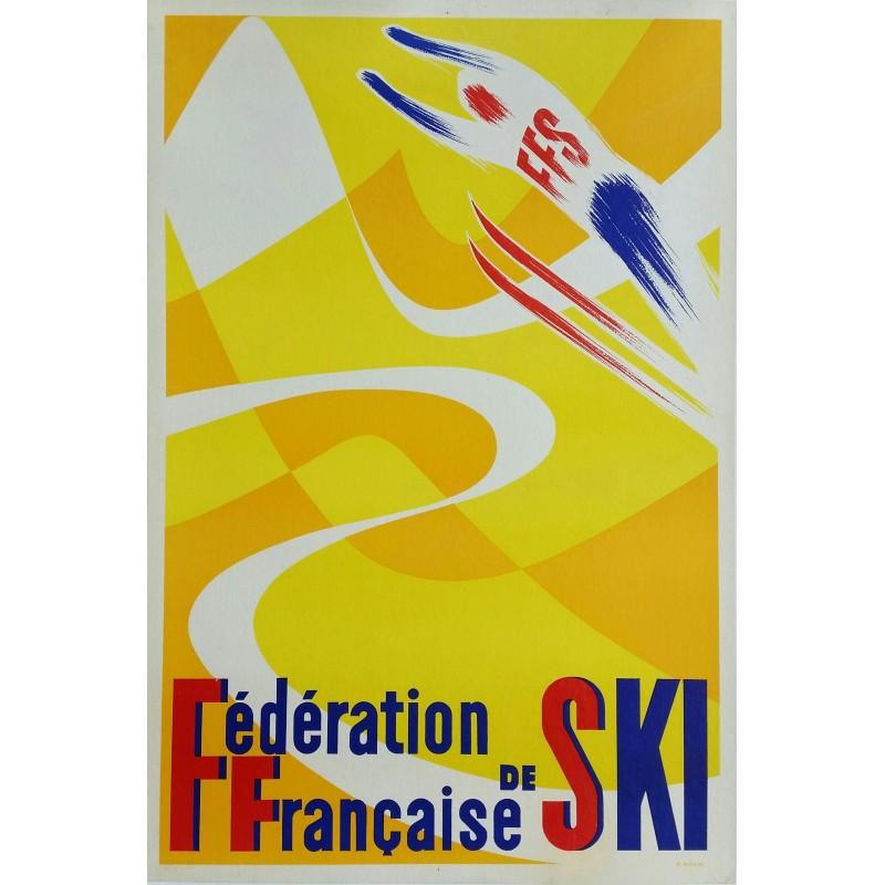 Affiche ancienne originale Fédération Française de Ski - ADAM