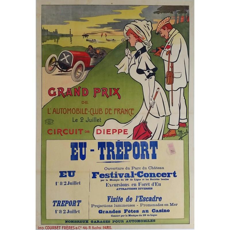 Affiche ancienne originale Grand Prix de l'ACF Automobile Club de France 1907 - MICH
