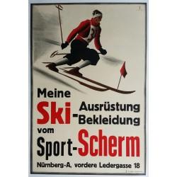 Affiche ancienne originale Meine Ski Ausrüstung Bekleidung vom Sport Scherm - Ernst BÖHM