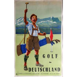 Affiche ancienne originale Golf in Deutschland - Eugen OSSWALD