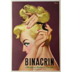 Affiche ancienne originale BINACRIN Shampoo - Franco MOSCA