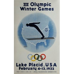 Affiche ancienne originale III Olympic Winter games Lake Placid 1932 - Wiltod GORDON