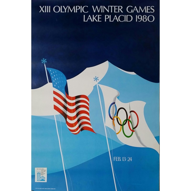 Affiche ancienne originale XIII Olympic Winter games Lake Placid 1980 - WHITNEY Robert W.