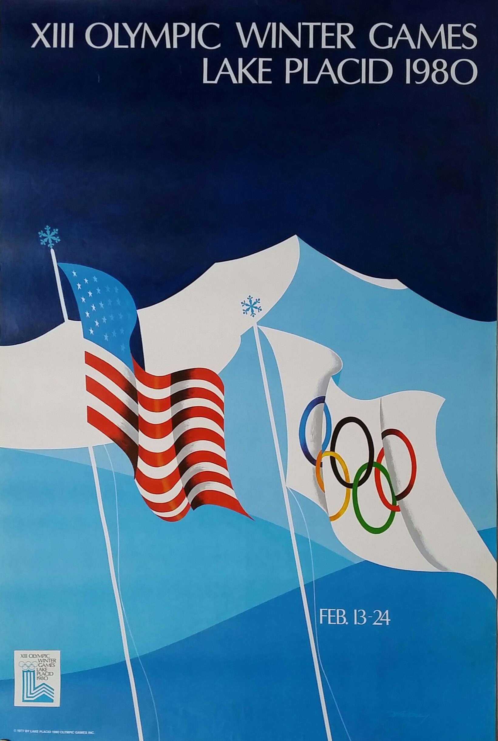 Original vintage poster XIII Olympic Winter games Lake Placid 1980 ...