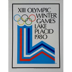 Affiche ancienne XIII Olympic Winter games Lake Placid 1980