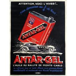 Affiche ancienne originale Antar-Gel L'huile du rallye de Monte-Carlo