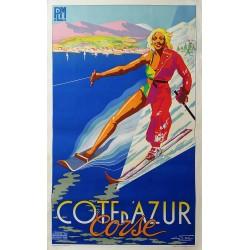 Affiche ancienne originale Côte d'Azur Corse PLM MOULLOT - E FER