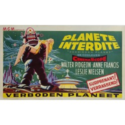 Affiche ancienne originale cinéma science fiction scifi Forbidden planet 1956