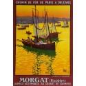 Affiche ancienne originale Chemin de fer Morgat Finistère La pêche à la sardine - ALO