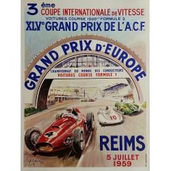 Original vintage poster XLV Grand prix de l'ACF Reims 1959 - Jean DES GACHONS