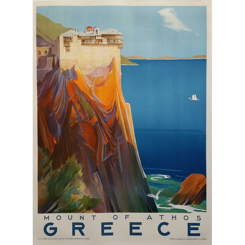 Affiche ancienne originale Mount of Athos Greece 1949