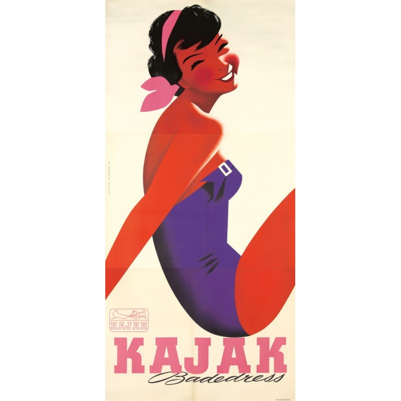 Affiche ancienne originale KAJAK Badedress - Atelier HOFMANN 1957