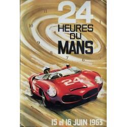 Affiche originale des 24 heures du mans 1963 - LEYGNAC