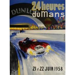 Affiche ancienne originale 24 heures du mans 1958 - BELIGOND