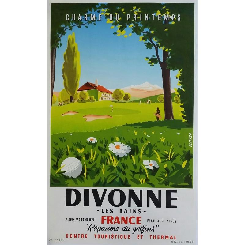 affiche ancienne originale golf divonne les bains olivier en vente chez affiche passion. Black Bedroom Furniture Sets. Home Design Ideas