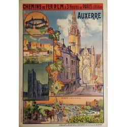 Original viejo cartel Auxerre Chemin de Fer PLM - Henri SAFFROY